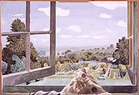 Artist Kenneth Rowntree: View through open window, 1944